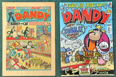 The Dandy Coronation Issue beside the Diamond Jubilee Issue